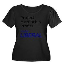 Vote Lib Women's Plus Size Dark Scoop Neck T-Shirt