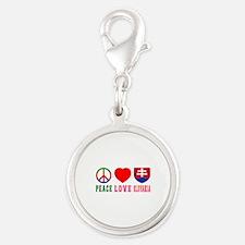 Peace Love Slovakia Silver Round Charm