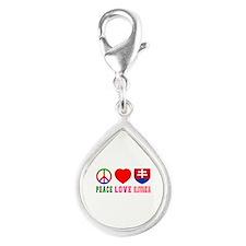 Peace Love Slovakia Silver Teardrop Charm