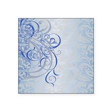 "Vintage Rococo Blue Damask Square Sticker 3"" x 3"""