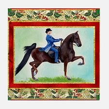 American Saddlebred Horse Christmas Tile Coaster