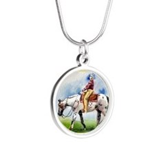 Appaloosa Horse Christmas Silver Round Necklace