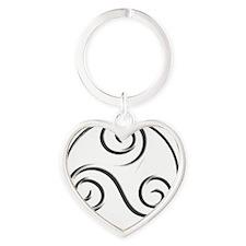 Triple Spiral 01a Heart Keychain