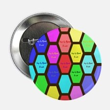 "12x12 B pastel hexagons on brown 2.25"" Button"