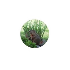 Groundhog in garden Mini Button