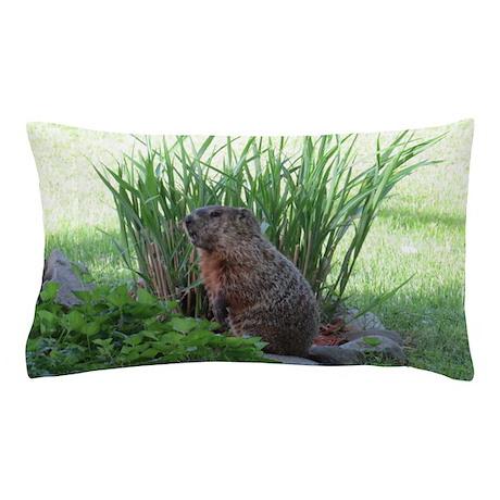 Groundhog in garden Pillow Case