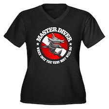 Master Diver Women's Plus Size Dark V-Neck T-Shirt