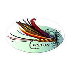 Fish On Oval Car Magnet