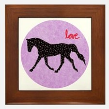 Horse Love and Hearts Framed Tile