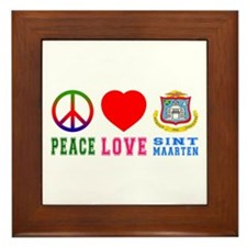 Peace Love Sint Marteen Framed Tile