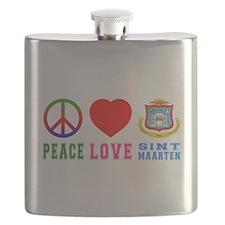 Peace Love Sint Marteen Flask