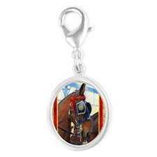 Cleveland Bay Horse Christmas Silver Oval Charm
