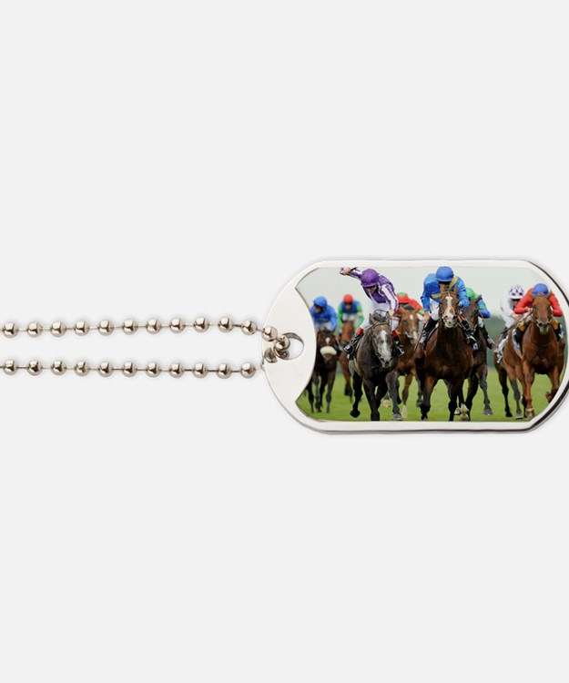 Front View of Horse Racing Dog Tags