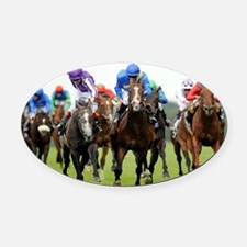 Front View of Horse Racing Oval Car Magnet