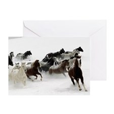 Horses Racing Through The Snow Greeting Card