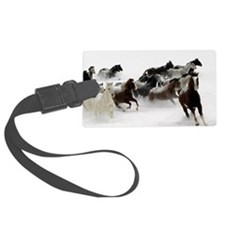 Horses Racing Through The Snow Luggage Tag