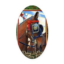 Cleveland Bay Horse Christmas Oval Car Magnet