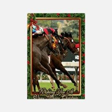 Thoroughbred Racehorse Christmas Rectangle Magnet