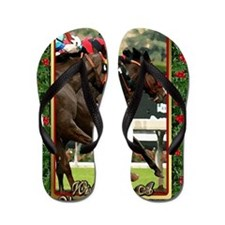 Thoroughbred Racehorse Christmas Flip Flops