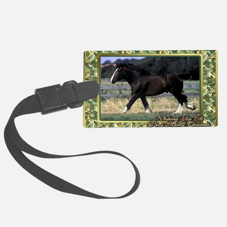 Shire Draft Horse Christmas Luggage Tag