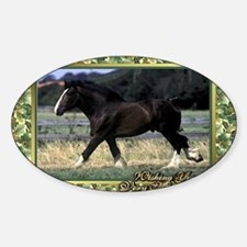 Shire Draft Horse Christmas Sticker (Oval)