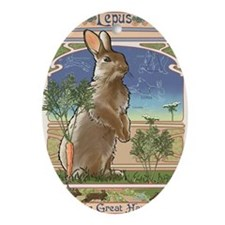 Art Nouveau Rabbit Oval Ornament