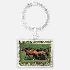 Horse Trio Christmas Landscape Keychain