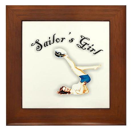 Retro Sailor's Girl Framed Tile