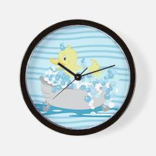 Duck in Tub Shower Curtain (Light Blue) Wall Clock