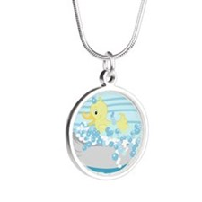 Duck in Tub Shower Curtain ( Silver Round Necklace