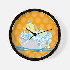 Duck in Tub Shower Curtain (Orange) Wall Clock