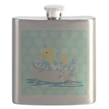 Duck in Tub Shower Curtain (Teal Dot) Flask