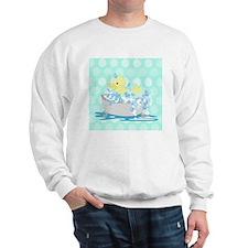 Duck in Tub Shower Curtain (Teal Dot) Sweatshirt
