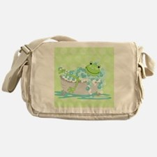 Frog in Tub Shower Curtain (Green) Messenger Bag