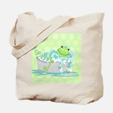 Frog in Tub Shower Curtain (Green) Tote Bag