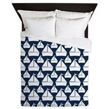 Preppy Boats Navy and White Queen Duvet