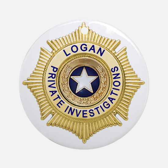 Logan PI Badge 6x6_pocket Round Ornament