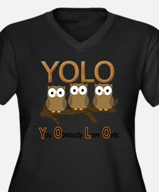 YOLO Women's Plus Size Dark V-Neck T-Shirt