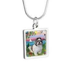 Lighthouse - Shih Tzu (M) Silver Square Necklace
