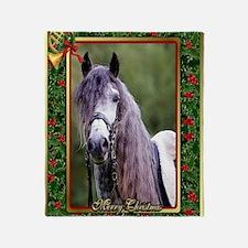 Lusitano Dressage Horse Christmas Throw Blanket