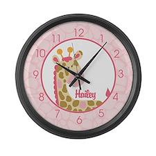 Pink Giraffe Clock - Hailey Large Wall Clock