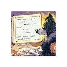 "Border Collie dog writer Square Sticker 3"" x 3"""