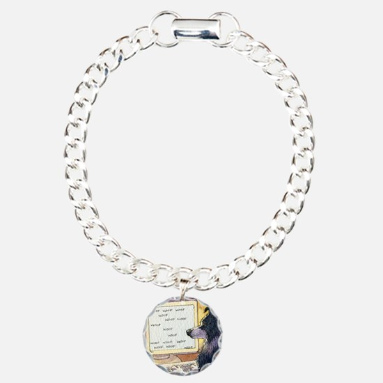 Border Collie dog writer Charm Bracelet, One Charm