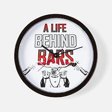 Motorcycle A Life Behind Bars Wall Clock