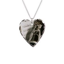 Clarinet and Musc Flip Flops  Necklace Heart Charm