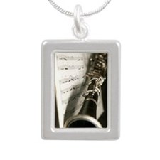 Clarinet and Music band  Silver Portrait Necklace