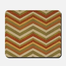 Burnt Orange Burlap Zigzags Mousepad