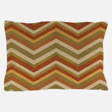 Burnt Orange Burlap Zigzags Pillow Case