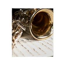SaxAndMusic-FlipFlops Throw Blanket