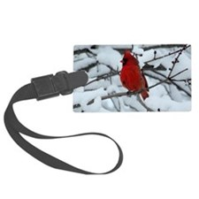 Snow Cardinal Luggage Tag
